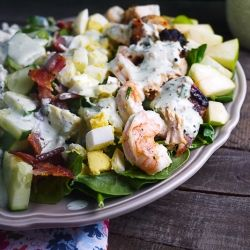 Surf And Turf Cobb Salad With Buttermilk Basil Dressing Healthy Salad Recipes Salad Side Dishes Surf And Turf