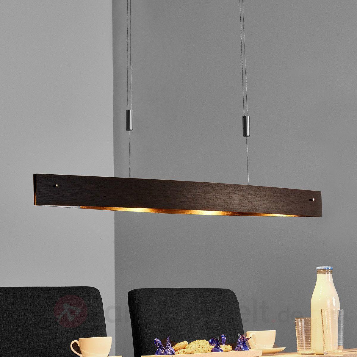Edle Holz-LED-Hängelampe Malu - höhenverstellbar 8  Lampen