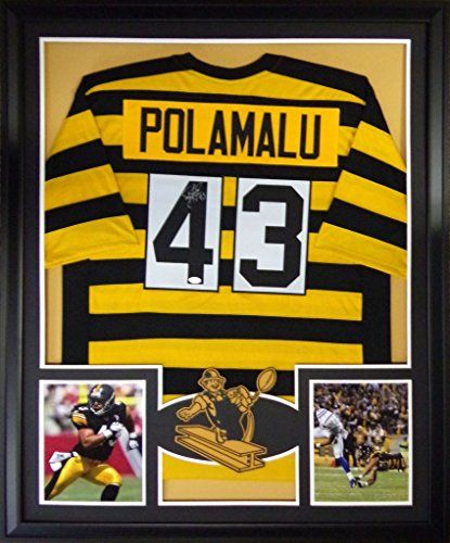 beb6c717d3e Troy Polamalu Framed Jersey Signed JSA COA Autographed Pittsburgh Steelers  Throwback Mister Mancave http