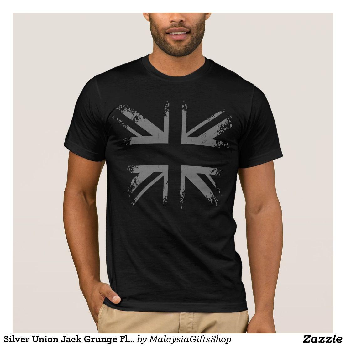 Black t shirt grunge - Silver Union Jack Grunge Flag T Shirt