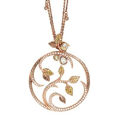 'Rough Diamonds' mixed cut diamond medallion pendant in rose gold