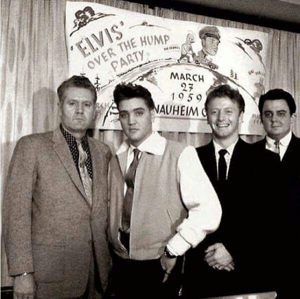 March 27, 1959  Elvis Celebrates his half way through the army stint with the  'Over The Hump Party'  Pictured: Vernon, Elvis, Red West and Lamar Fike