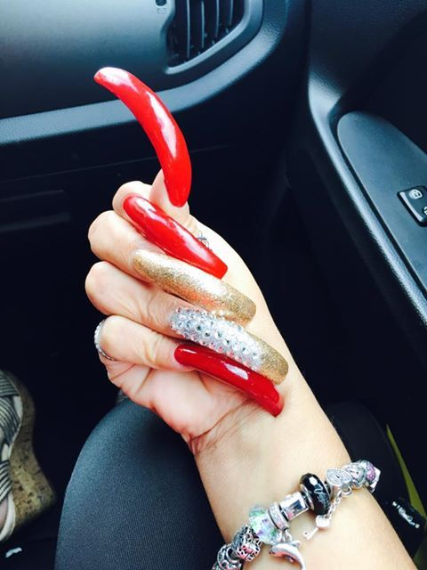 Long Red Nails Acrylic Fingernails Y Hot