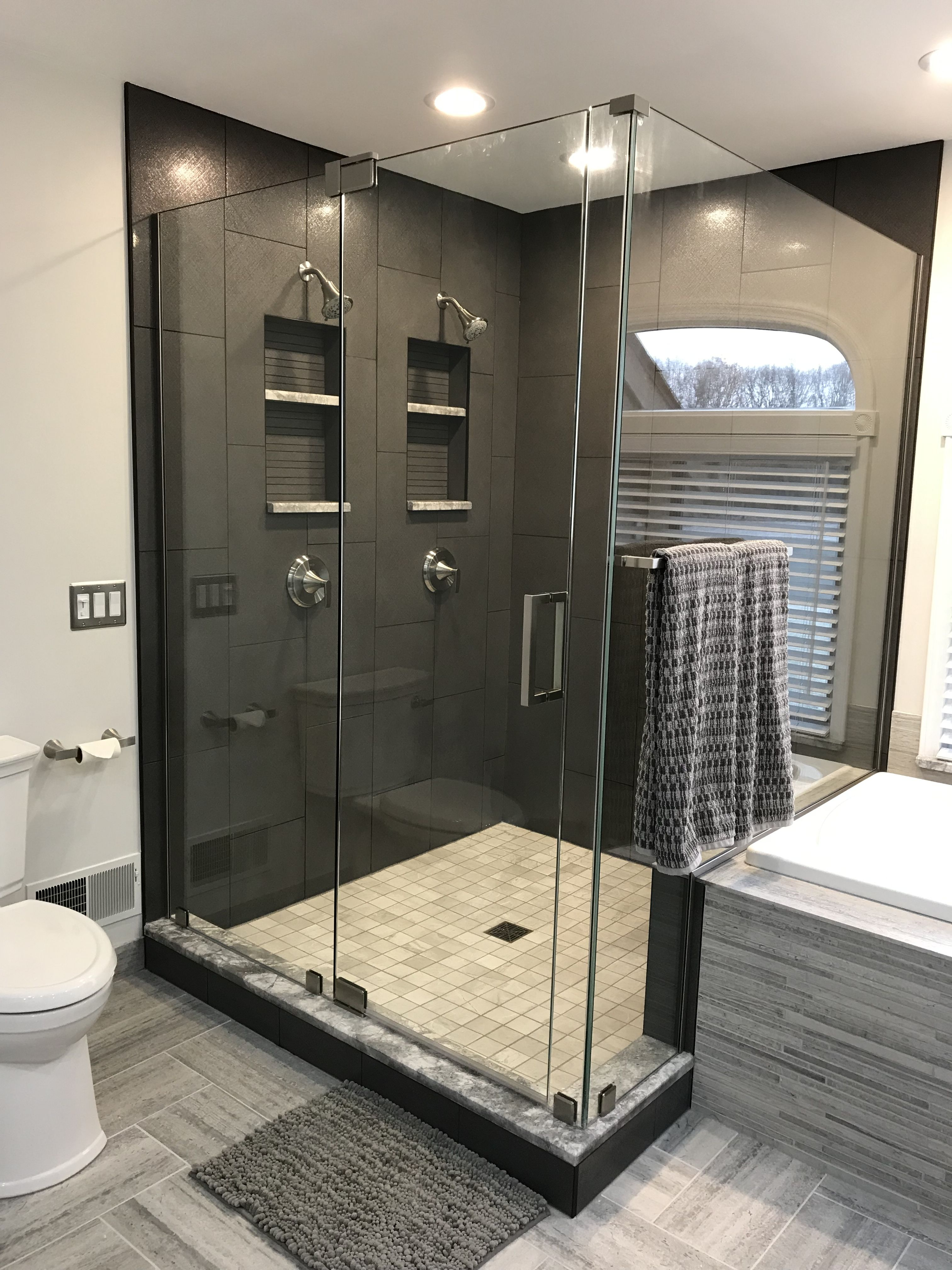 Harley Lux Graphite Shower Wall Porcelain Tile With Black Onyx