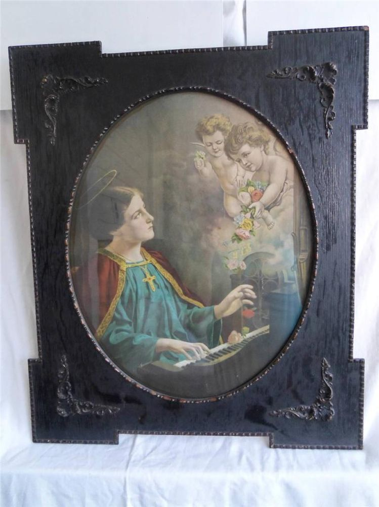 Antique Religious Print 22x26 Large Carved Wooden Frame - Angels ...