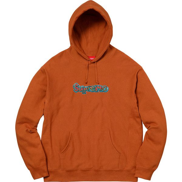 7065cda3781 Supreme Gonz Logo Hooded Sweatshirt ❤ liked on Polyvore featuring tops,  hoodies, logo top, hooded pullover, orange hoodies, orange hoodie and hoodie  top