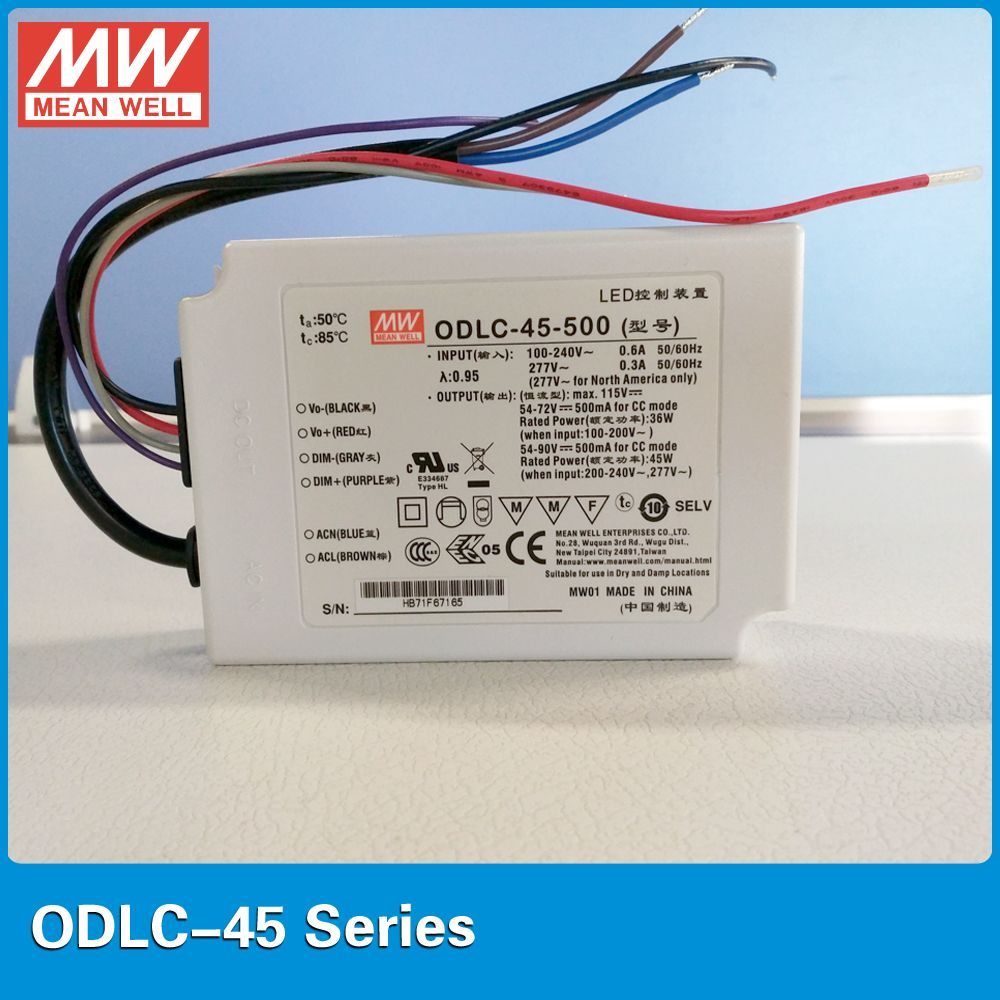 Original Mean Well 45w Constant Current Led Driver Odlc 45 500 500ma 45w 0 10vdc 10v Pwm Dimming Driver Flicker Free D Led Drivers Constant Current Free Design
