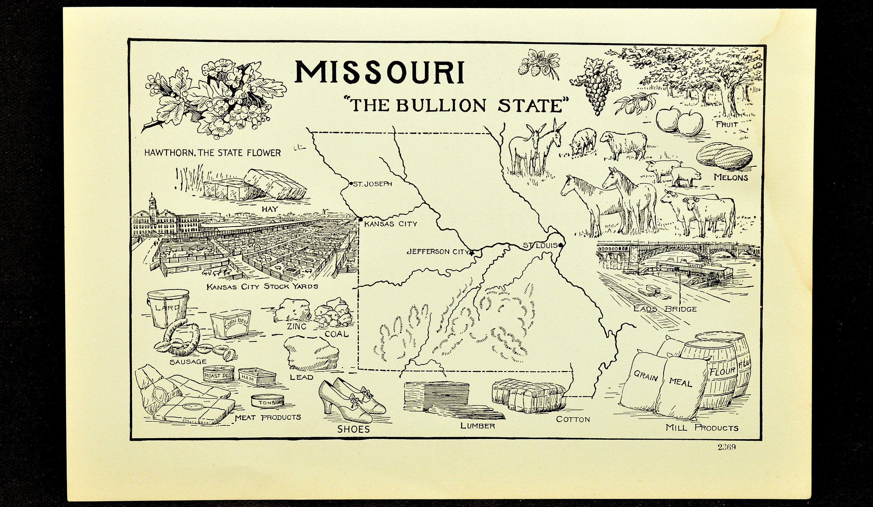 Missouri State Map Wall Art Book Page Plate Decor Drawing