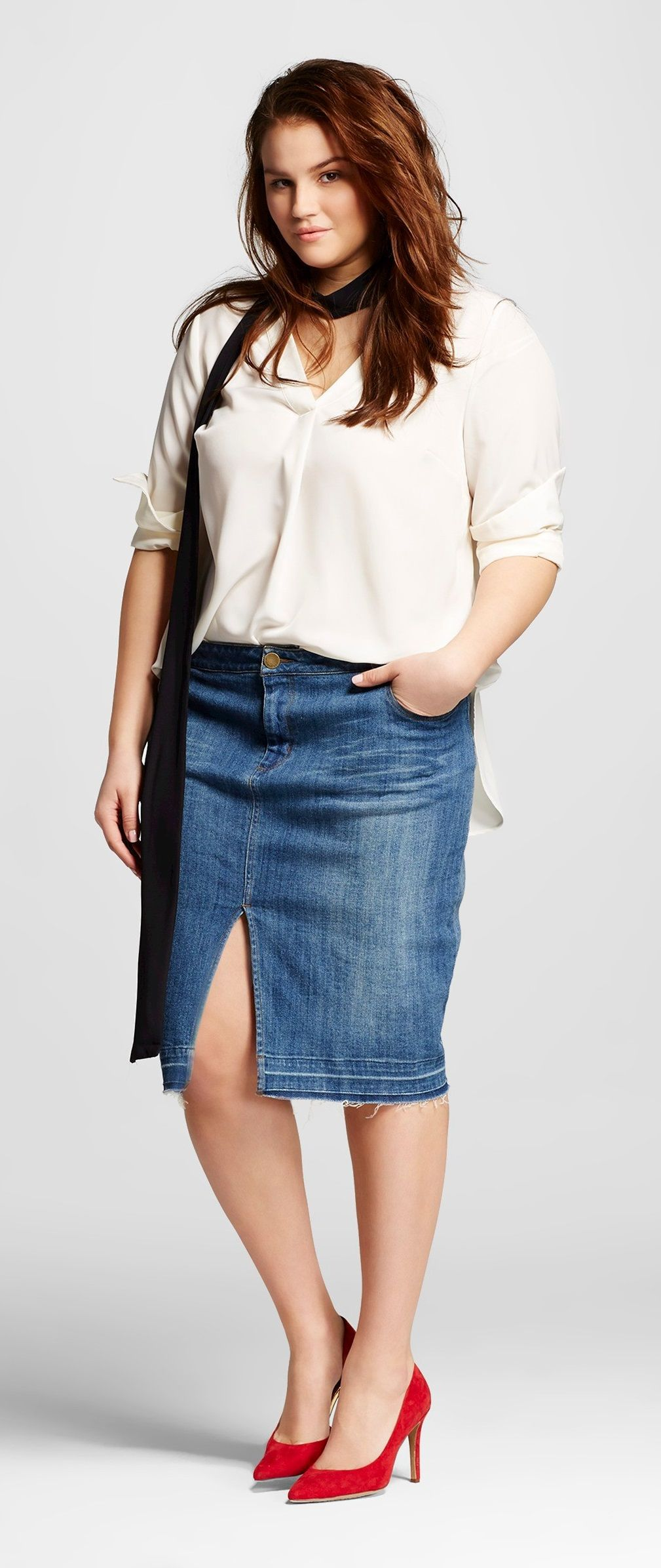 6b11efdf005 Plus Size Denim Pencil Skirt - Who What Wear at Target