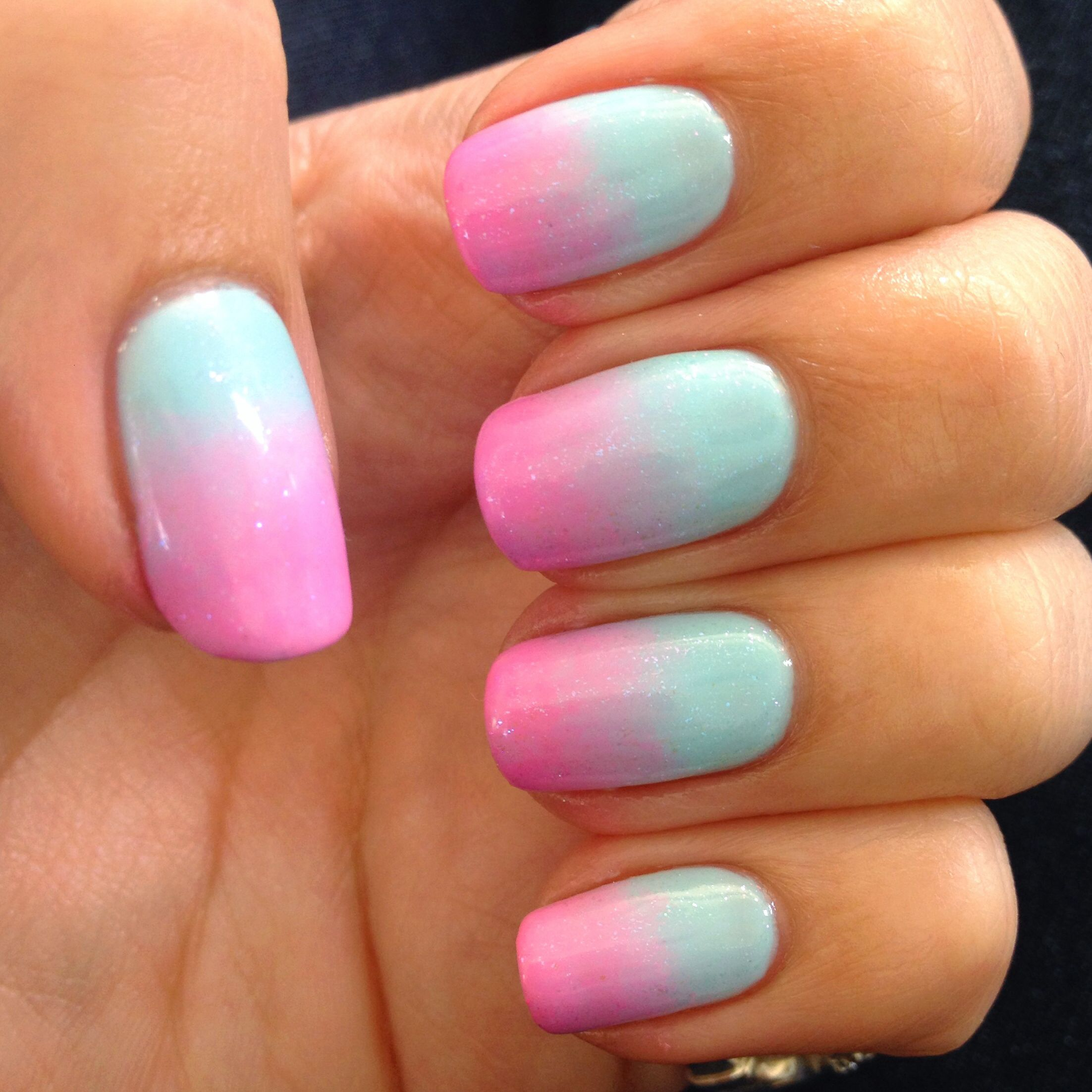 Blue and pink ombré nails using Gelish | Riley | Pinterest