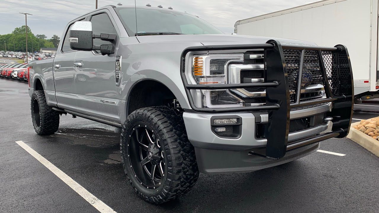2020 Ford F250 Platinum Leveled On 35s Iconic Silver Covert Edition In 2020 F250 Ford F250 Ford F350 Super Duty