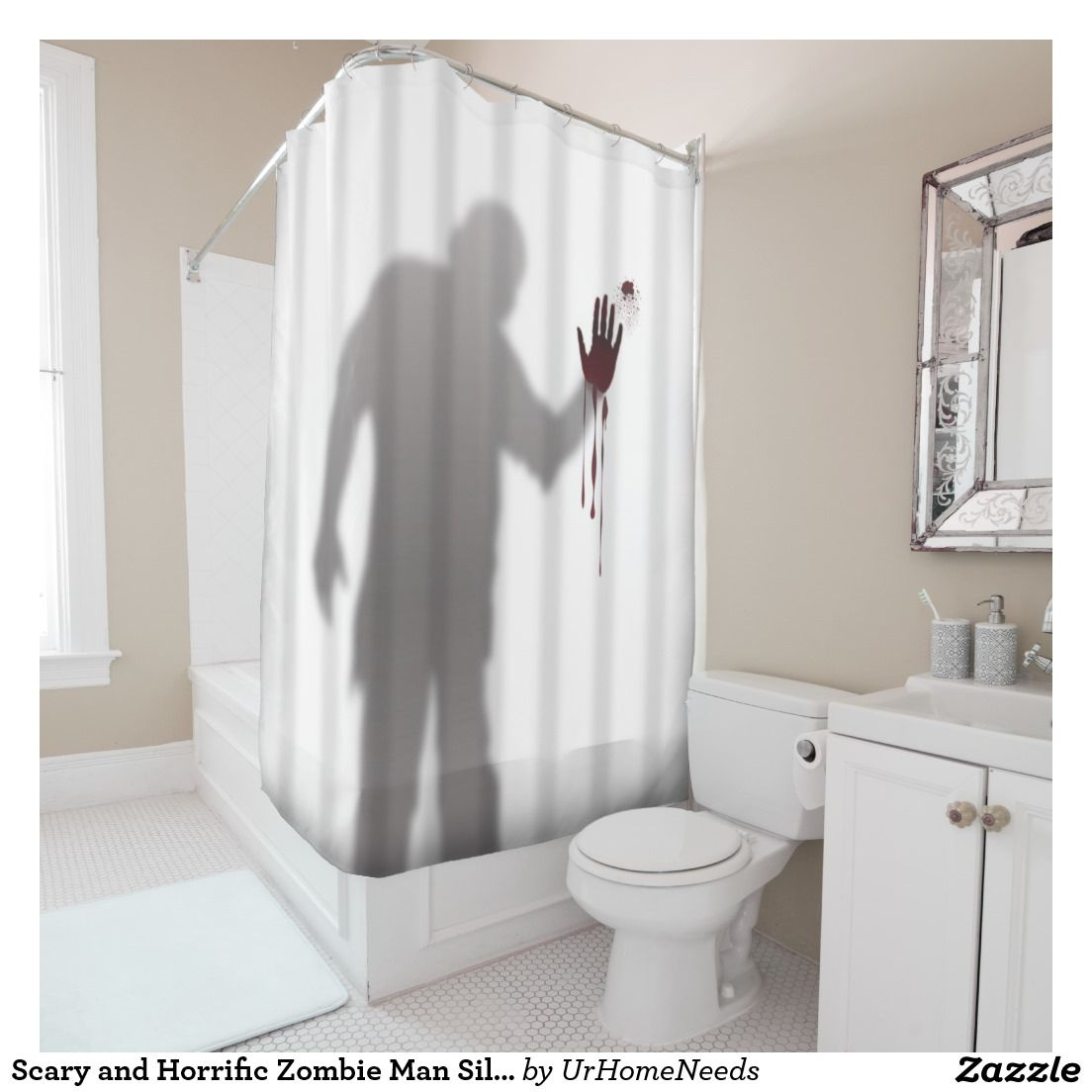 Scary and Horrific Zombie Man Silhouette Shadow Shower Curtain ...