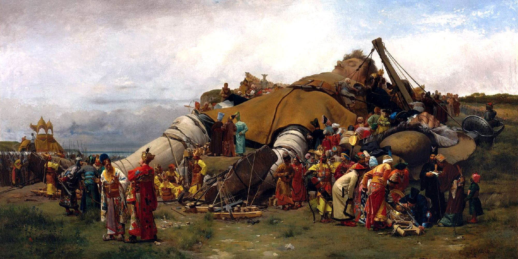 """I can imagine seeing this for the first time in 1870 as a teenager. It would've been as mind-blowing as that opening scene in Star Wars with the Star Destroyer rumbling overhead. This is the equal to any movie special effects today. ~~ """"Gulliver and the Lilliputians"""" by Jehan-Georges Vibert, 1870."""