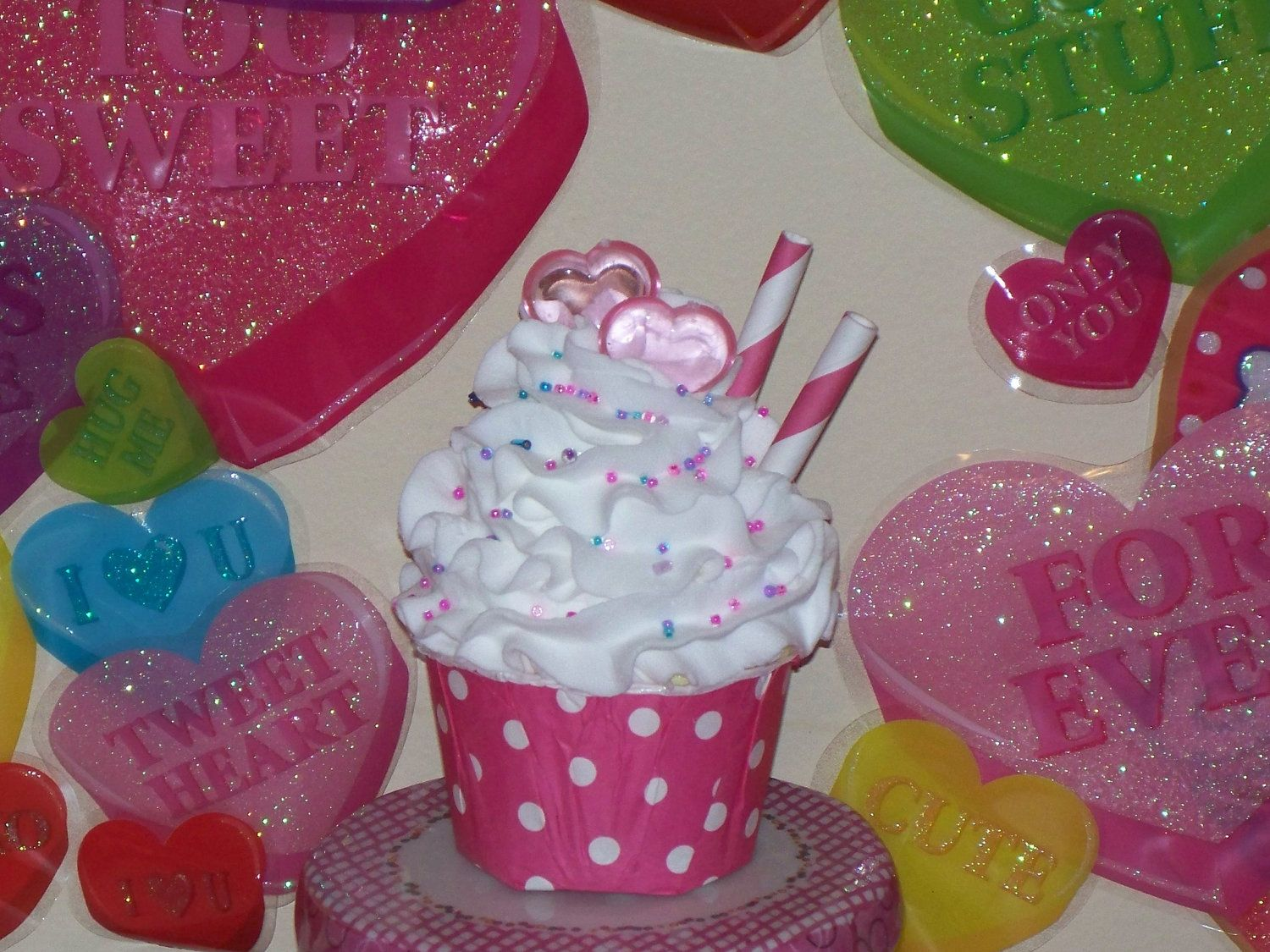 Pink Polka Dot Valentine Fake Cupcake with Hearts, Straws, and Sprinkles great Photo Props, Party Decorations, Home Display. $10.25, via Etsy.