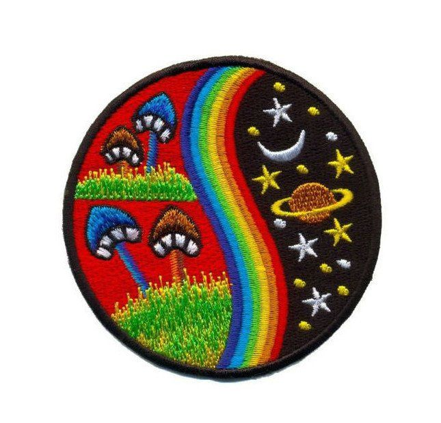 Shroom Patch Iron-On Embroidered Applique Psychedelic Hippie Trippy Mushroom