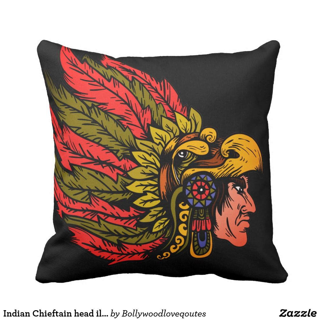 Indian Chieftain head illustration Face pillow