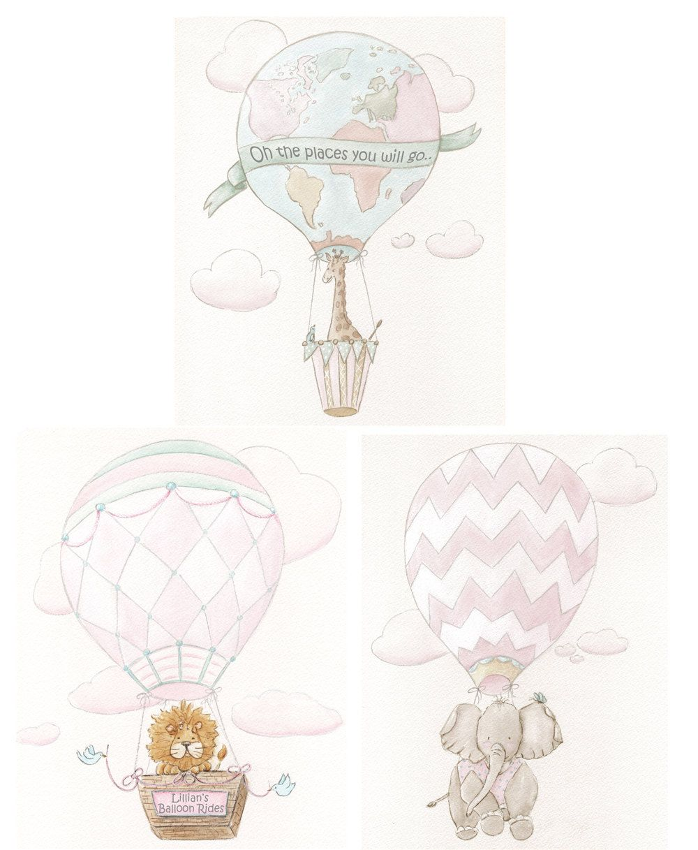 12 MEDIUM Personalised Blue Hot Air Balloon Birthday Party Thank You Stickers