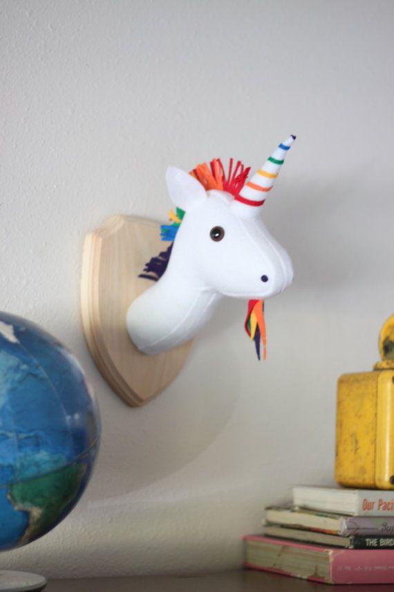 Rainbow Unicorn Stuffed Animal Wall Mounted Head Vegan Taxidermy