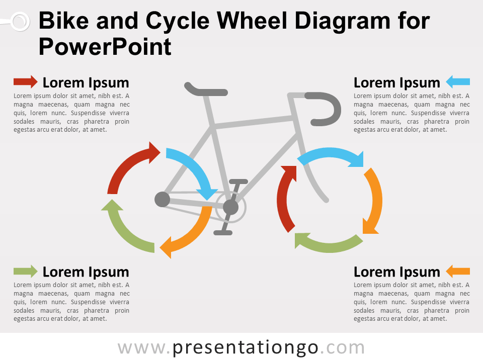 Bike And Cycle Wheel Diagram For Powerpoint Presentationgo Com