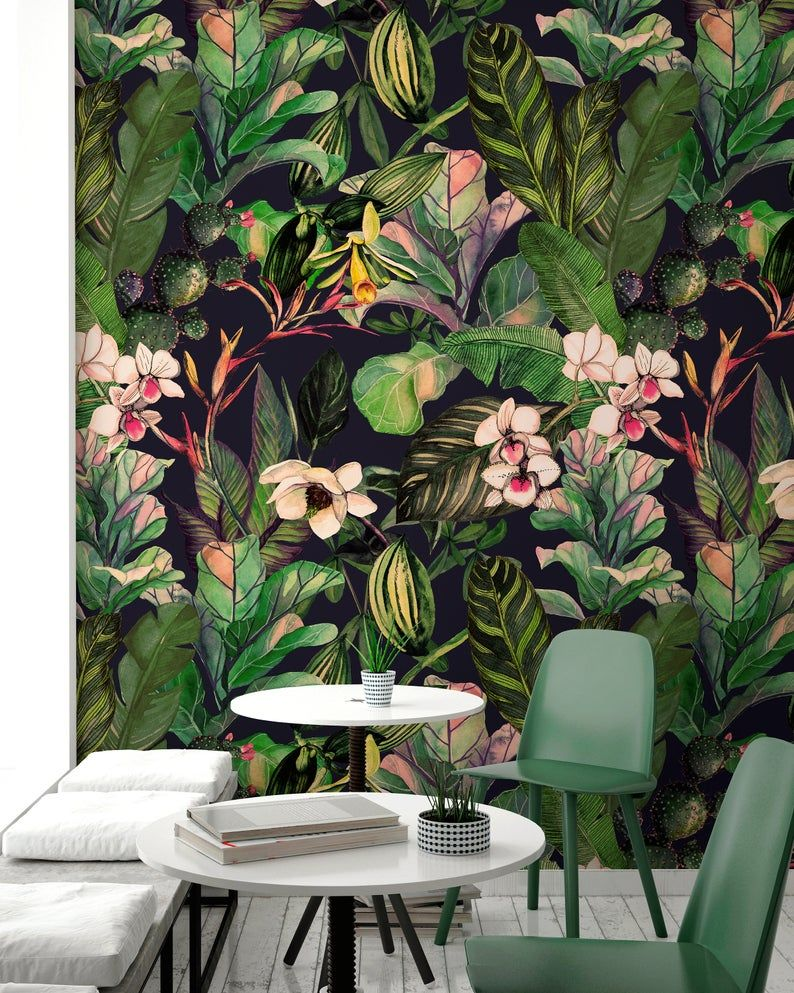 Removable Wallpaper Peel And Stick Wallpaper Wall Paper Wall Etsy In 2021 Tropical Wallpaper Wall Wallpaper Wallpaper Walls Decor