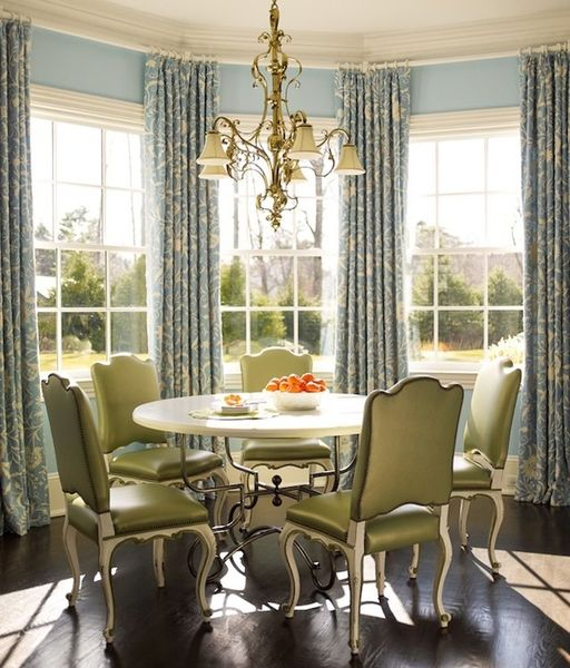 Drapes Suspended From Continuous Rod For The Bay Window In Dining Room
