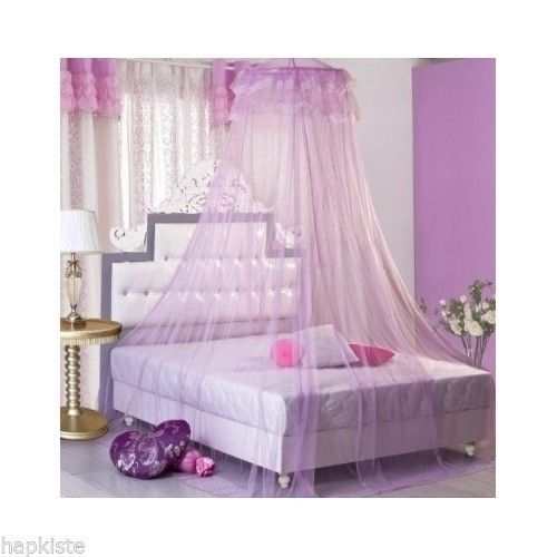 Housweety New Round Lace Curtain Dome Bed Canopy Netting Princess Mosquito Net  sc 1 st  Pinterest & Princess-Bed-Canopy-Mosquito-Net-Purple-Netting-Curtain-Girls ...