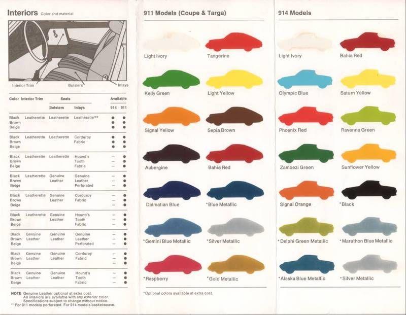 1973 Porsche Colors Brochure Porsche Color Retro Color