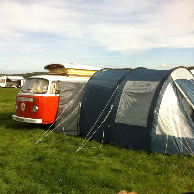 In full camper setting at reading festival