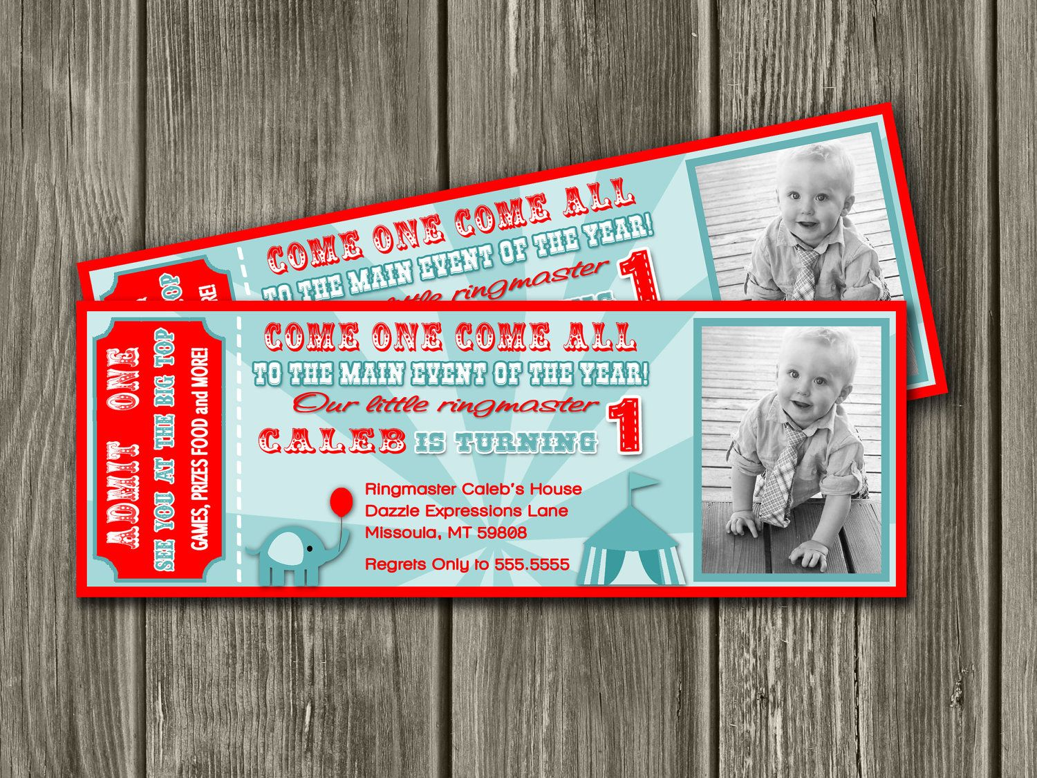 vintage circus ticket invitation free thank you card included