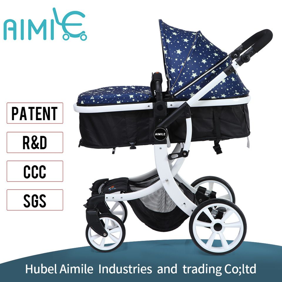 Custom brand Kids 2in1 baby design blue luxury stroller