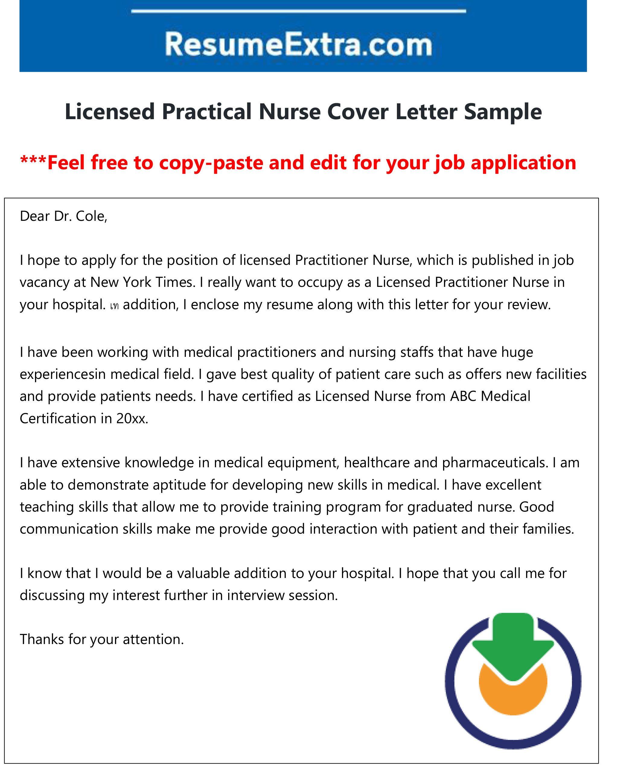 Free Licensed Practical Nurse Cover Letter Nurse Cover Job Cover Letter Cover Letter Sample