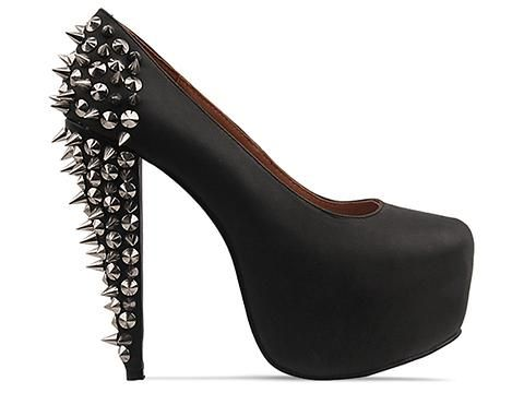 Jeffrey Campbell Ledesma Spike In Black Silver At