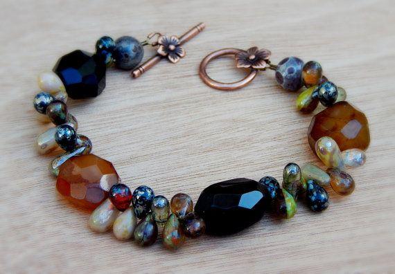 Chunky+Beaded+bracelet+agate+and+Czech+glass+by+Beadedgemshop,+$46.00