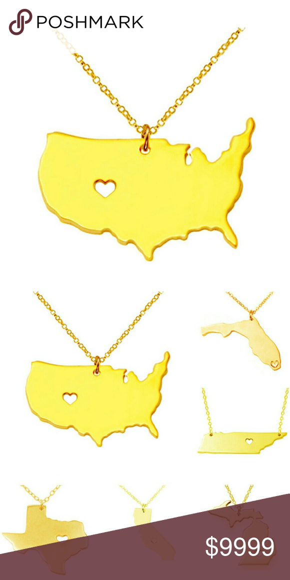 "***Coming Soon*** Gold ""I ? America"" 18K NWT 18K Gold plated Alloy. Like to be notified when in stock! Jewelry Necklaces"