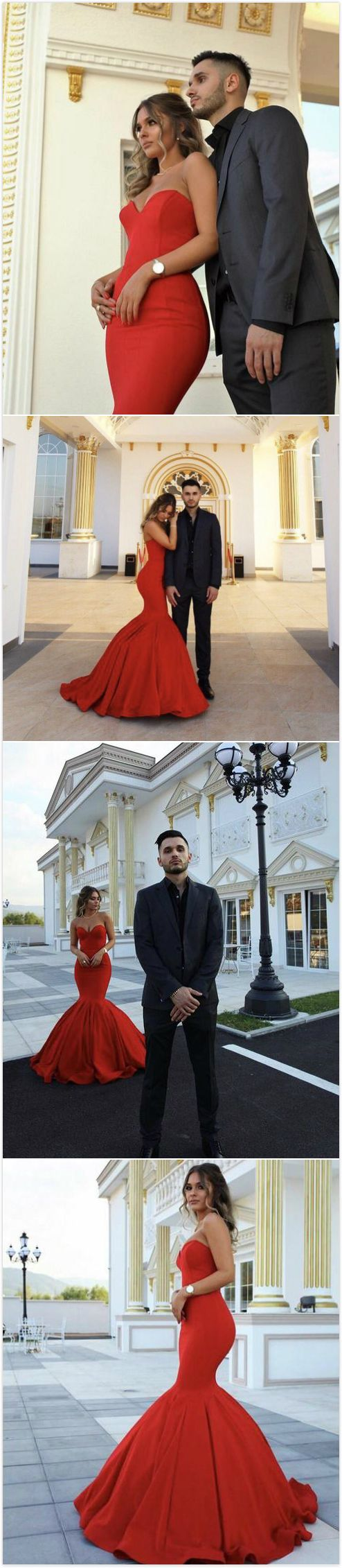 Long red mermaid sweetheart sleeveless zipper prom dresses