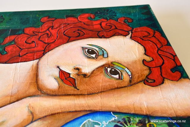 Detail of 'Protect' - acrylics, collage and acrylic ink portrait of an earth angel