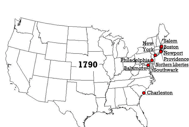 The Top US Cities By Population City Brain - Map of us in 1790