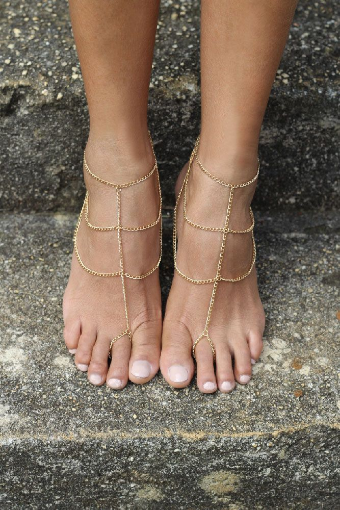 Gold barefoot Sandals Gold Ankle Chain body jewelry Beach wedding