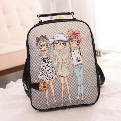 4db067c39a Printing Backpacks Female Women Bag New Korean Cartoon Graffiti Girl Back Bag  School Bag Ladies Paris Eiffel Tower Mochilas