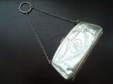 Vintage Antique Solid Sterling Silver Purse, Bag With Leather Interior 83.1g