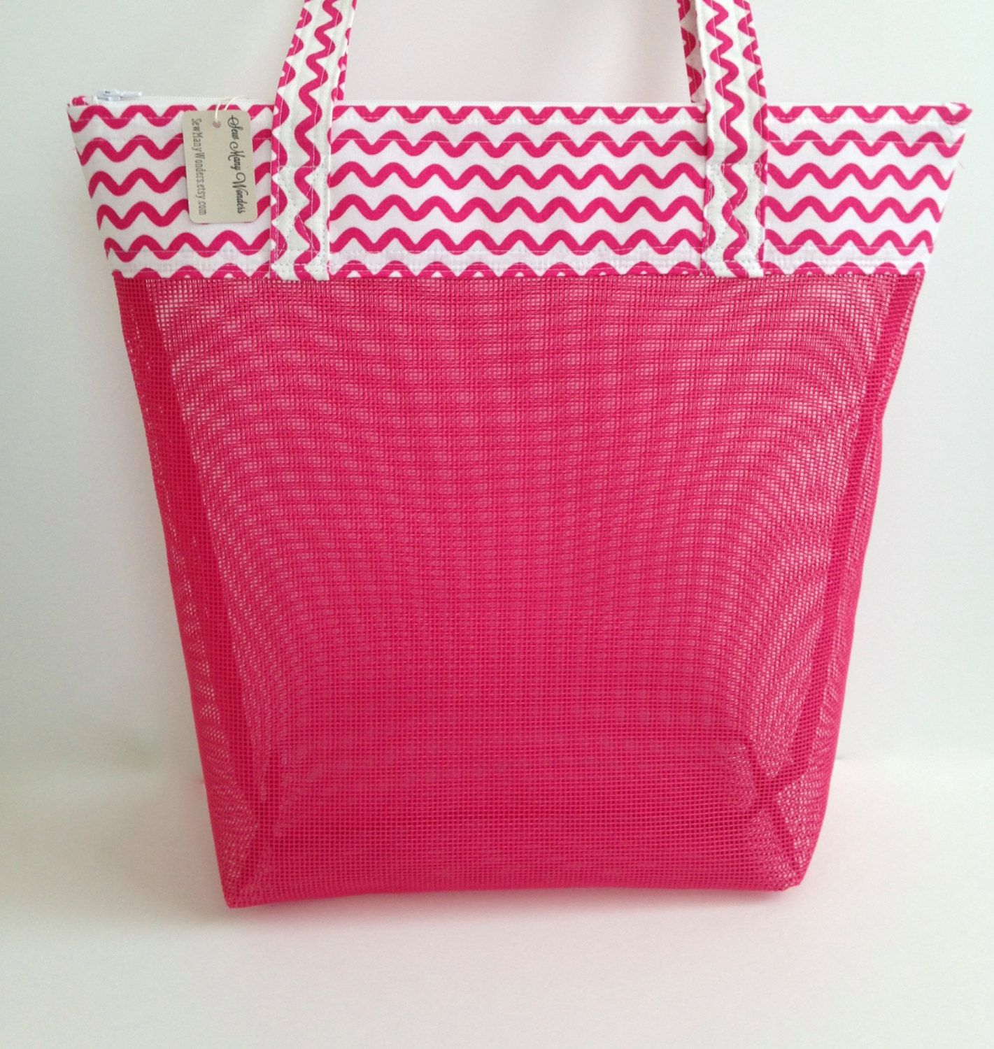 Beach Mesh Bag, Seashell Collecting Mesh Bag, Pink Vinyl Mesh ...