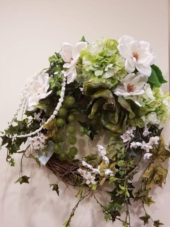 Photo of Magnolia Wreath, everyday wreath, front door wreath, any season wreath, colonial wreath, southern wreath