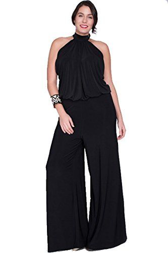 Nyteez Womens Plus Size High Neck Wide Leg Jumpsuit 1x Black Check