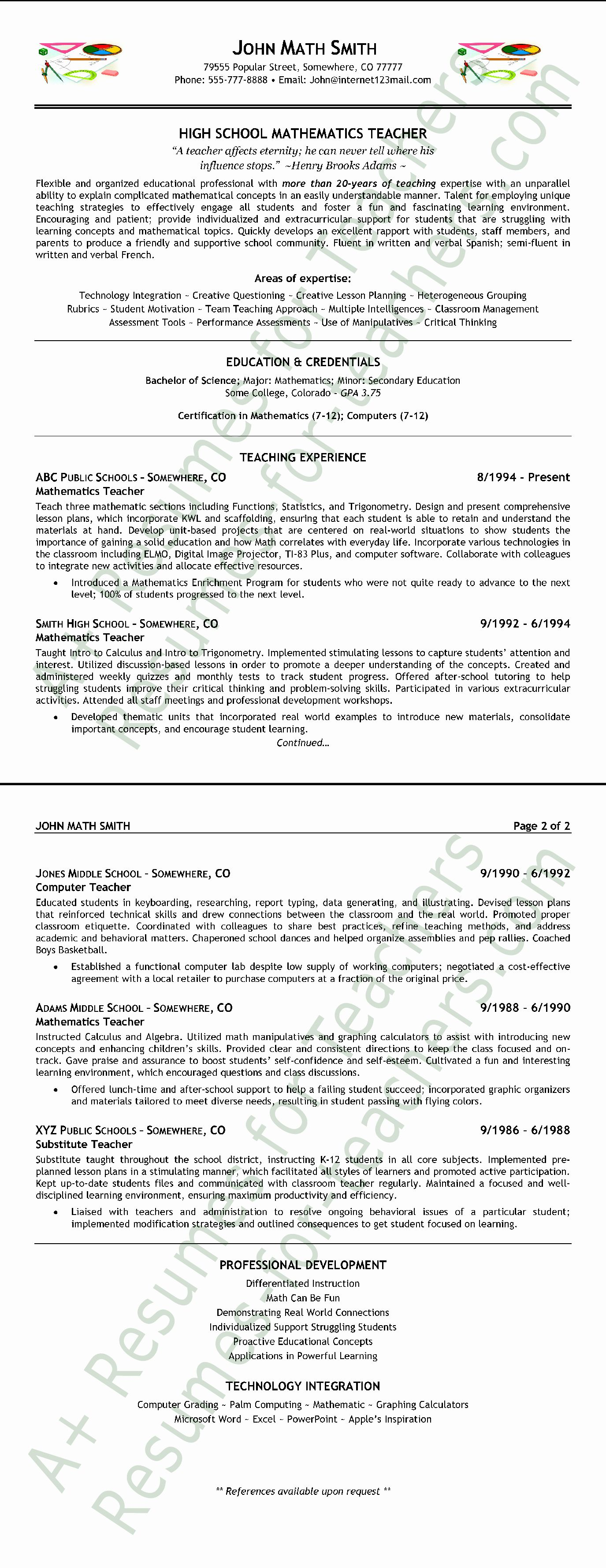Math Teacher Resume Examples Elegant High School