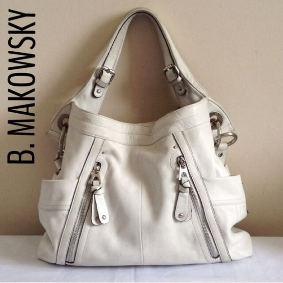 B Makowsky White Leather Large Handbag