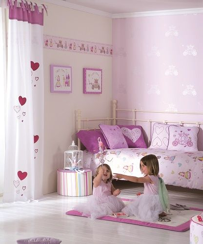 Habitaci n ni a hadas carrozas y corazones para la for Decoracion de habitacion de bebe nina