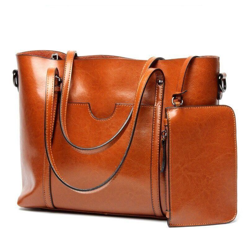 Women Casual Tote Genuine Leather Handbag Bag Fashion Vintage Large  Shopping Bag Designer Crossbody Bags Big 9449a5e2c9971