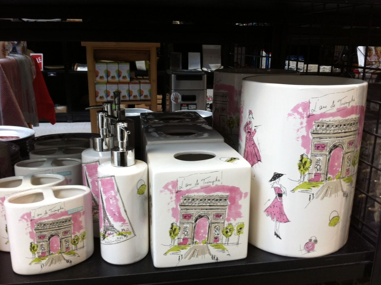 Paris themed bathroom accessories - Pink Spring Green White Paris Themed Bathroom Accessories From Linen Chest Ottawa