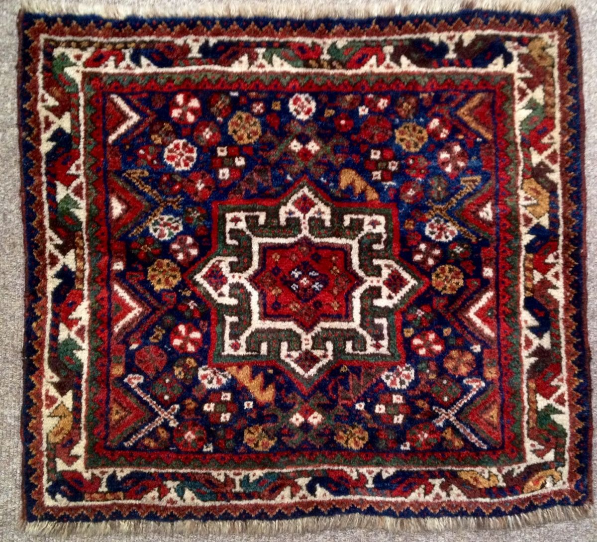 Antique Khamseh Small Square Rug Full Pile All Wool And Natural Dyes Including Lots Of Lovely