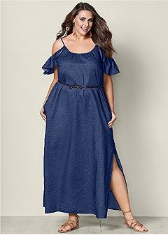 16efbbc5 PLUS SIZE CHAMBRAY MAXI DRESS | Denim Dresses | Dresses, Plus size ...